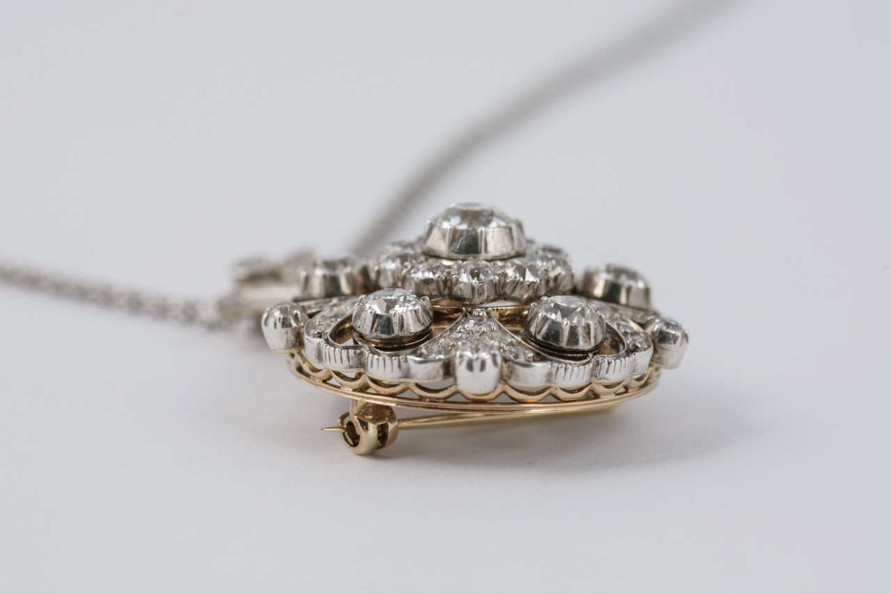 Late Victorian Diamond Target Cluster Brooch/Pendant For Sale 1