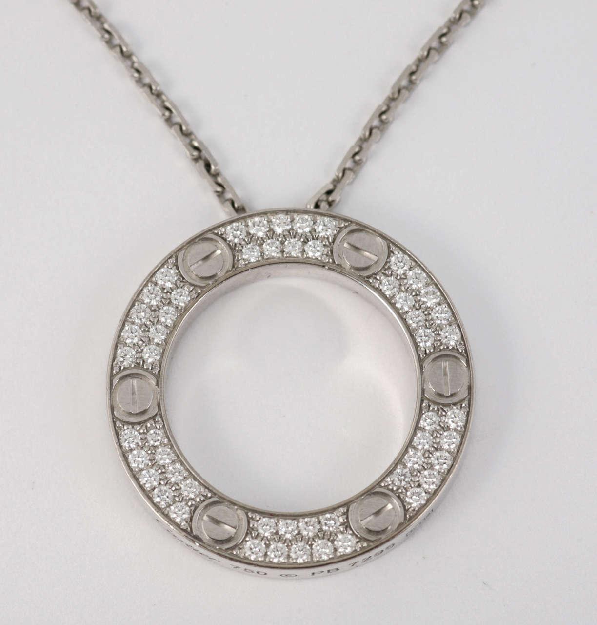 Cartier diamond set love pendant in white gold at 1stdibs womens cartier diamond set aloadofball Choice Image