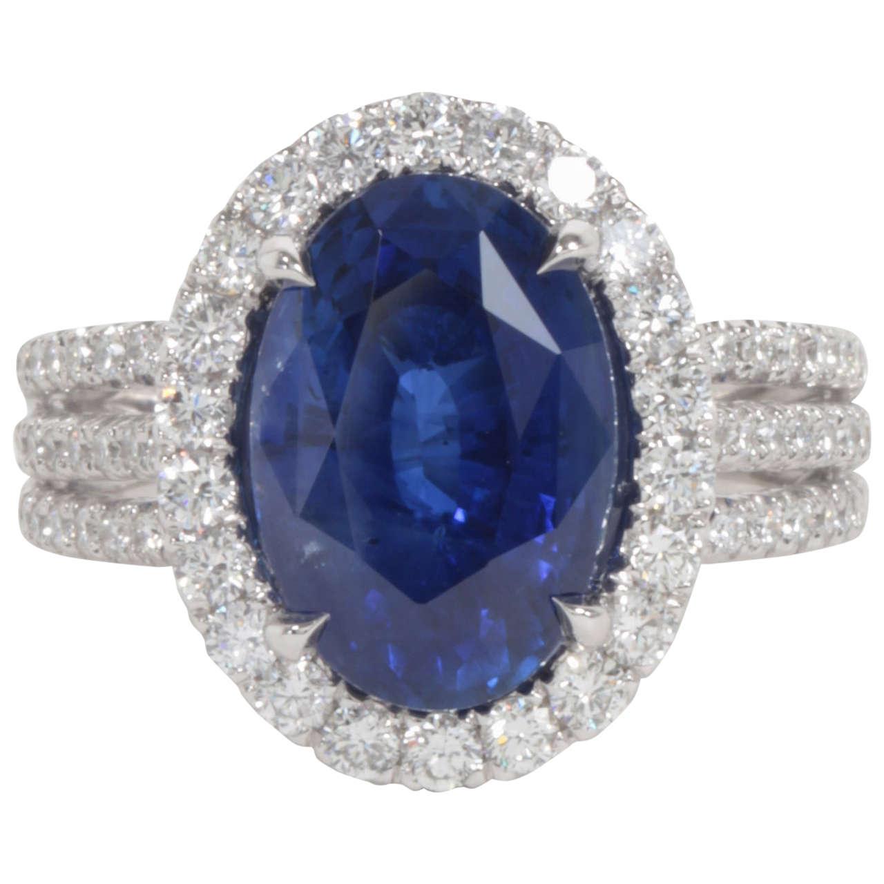 Certified Royal Blue Sapphire Diamond Ring