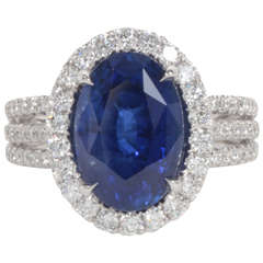 Certified Royal Blue Sapphire Diamond Ring