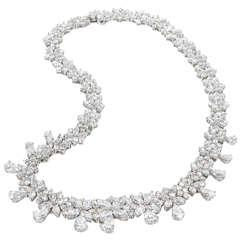 Classic Diamond Wreath Necklace set in platinum