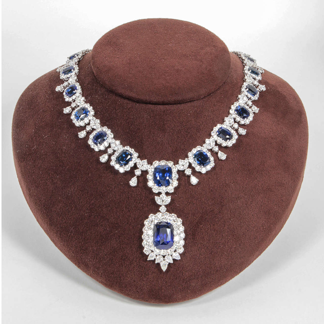 An incredible piece!  75.50 carats of beautiful cushion cut Ceylon sapphires.   17.48 carat cushion cut drop with GIA certificate.   45.13 carats of diamonds, all set in platinum.  Made in New York