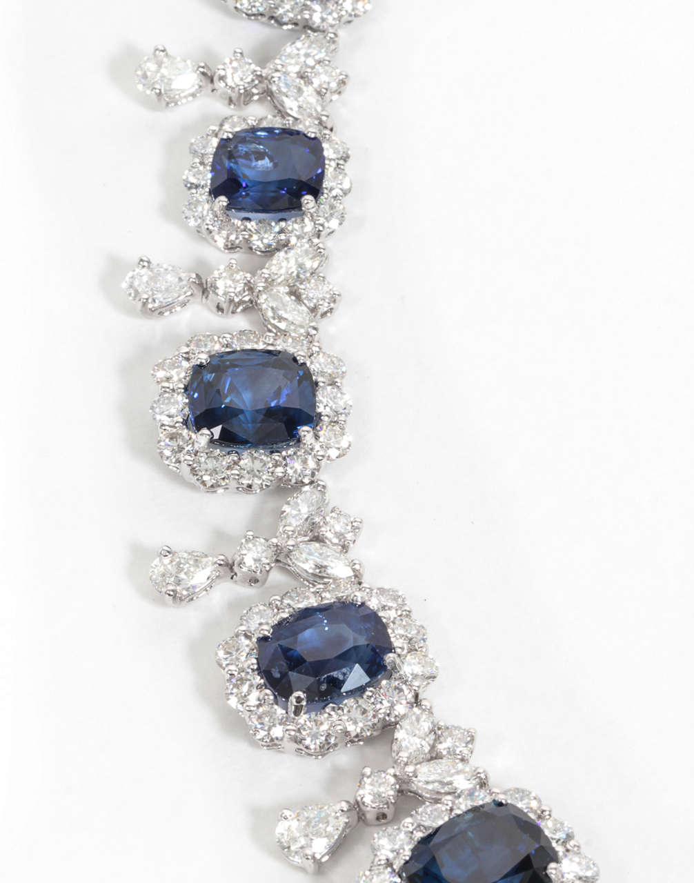 Important Cushion Cut Ceylon Sapphire Diamond Platinum Necklace In As New Condition For Sale In New York, NY