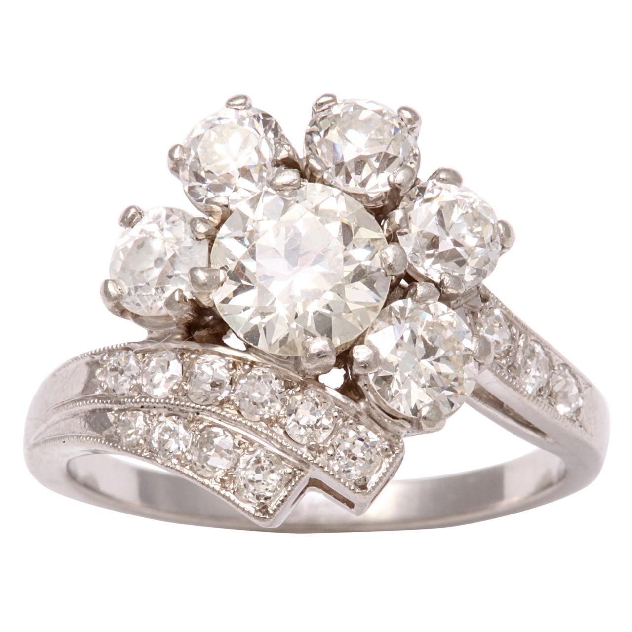Platinum Diamond Art Deco Ring