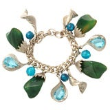 Silvertone Green and Turquoise Charm Bracelet