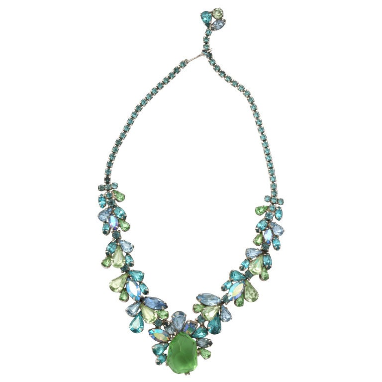 Turquoise and Green Rhinestone Necklace For Sale