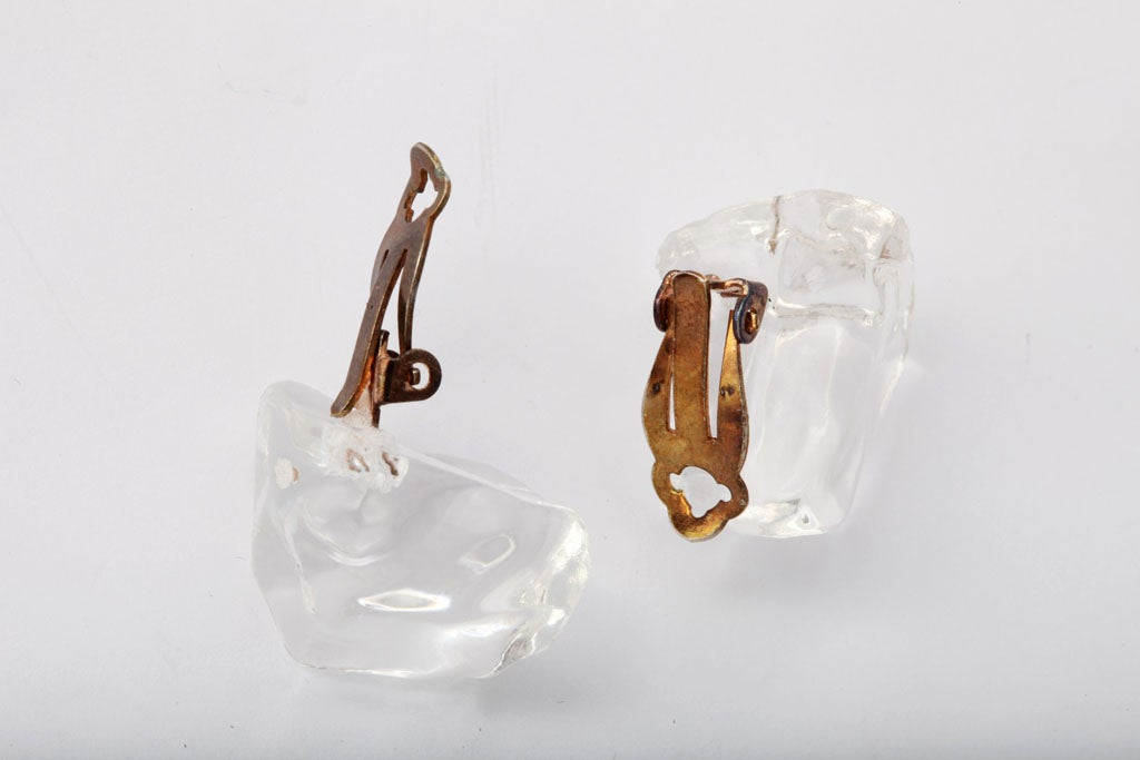 Lucite Ice Nugget Earrings 3