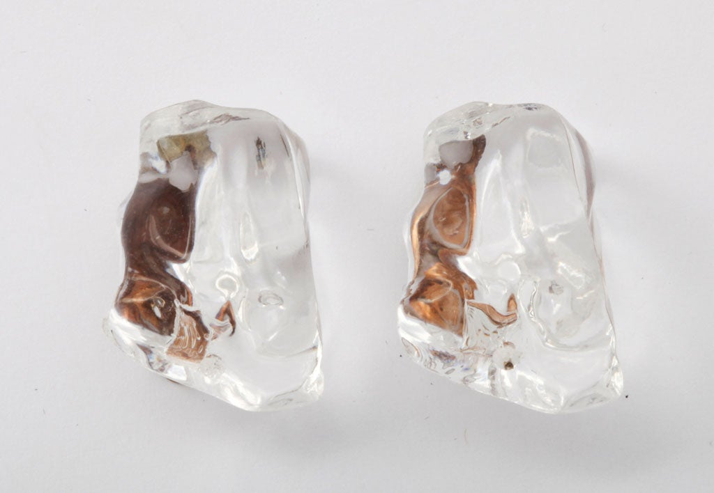 Lucite Ice Nugget Earrings 4
