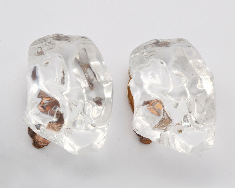 Lucite Ice Nugget Earrings 2