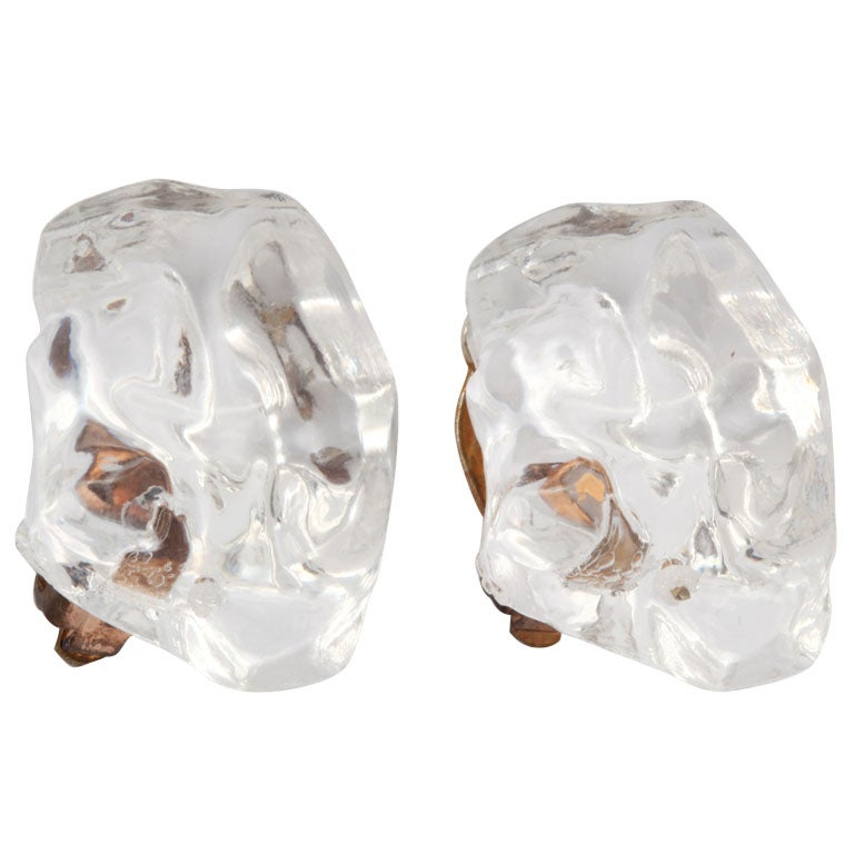 Lucite Ice Nugget Earrings 1