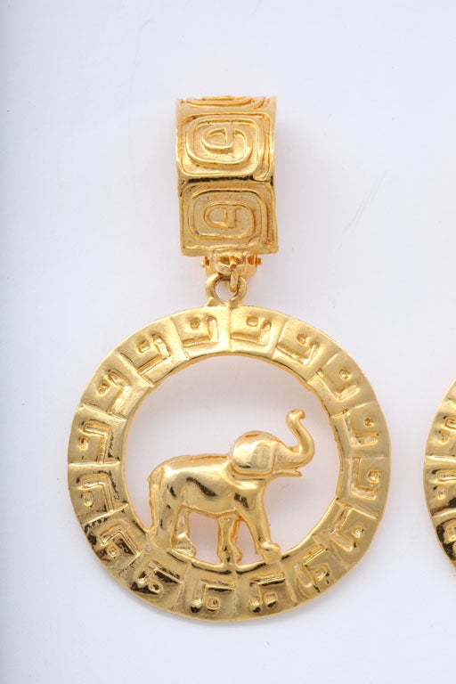 Women's Large Goldtone Hoop/Elephant Earrings For Sale