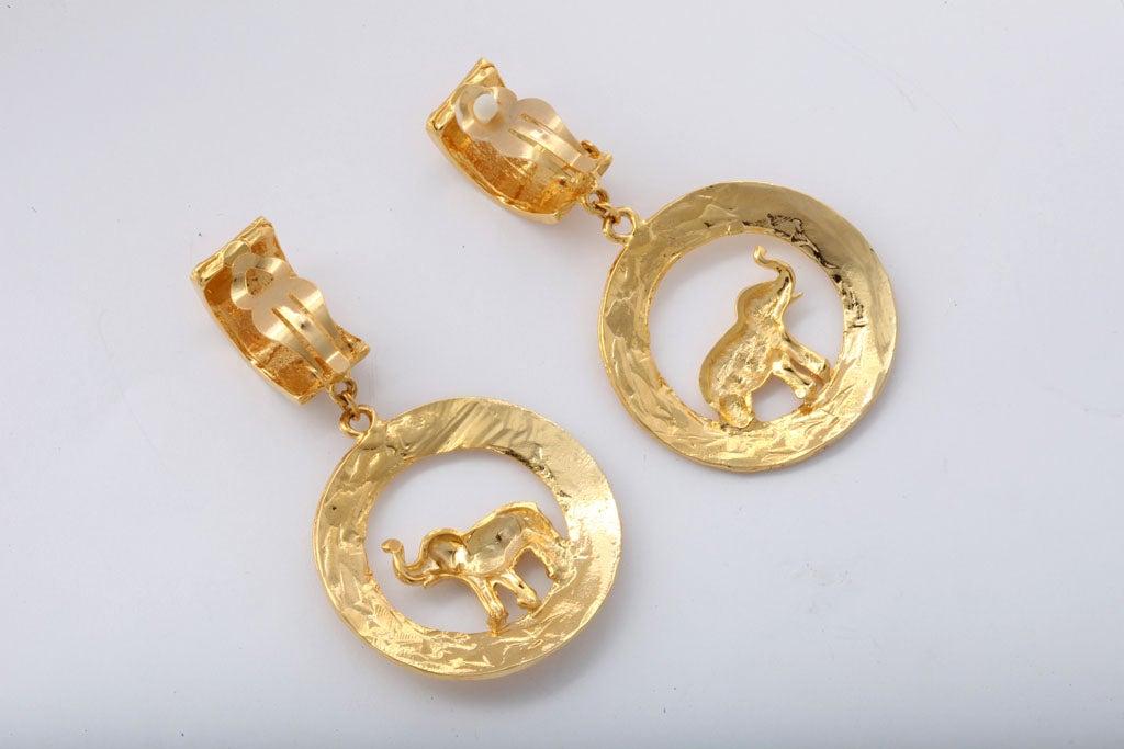 Large Goldtone Hoop/Elephant Earrings For Sale 1