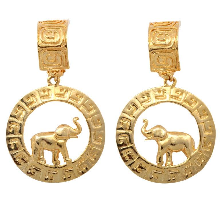 Large Goldtone Hoop/Elephant Earrings