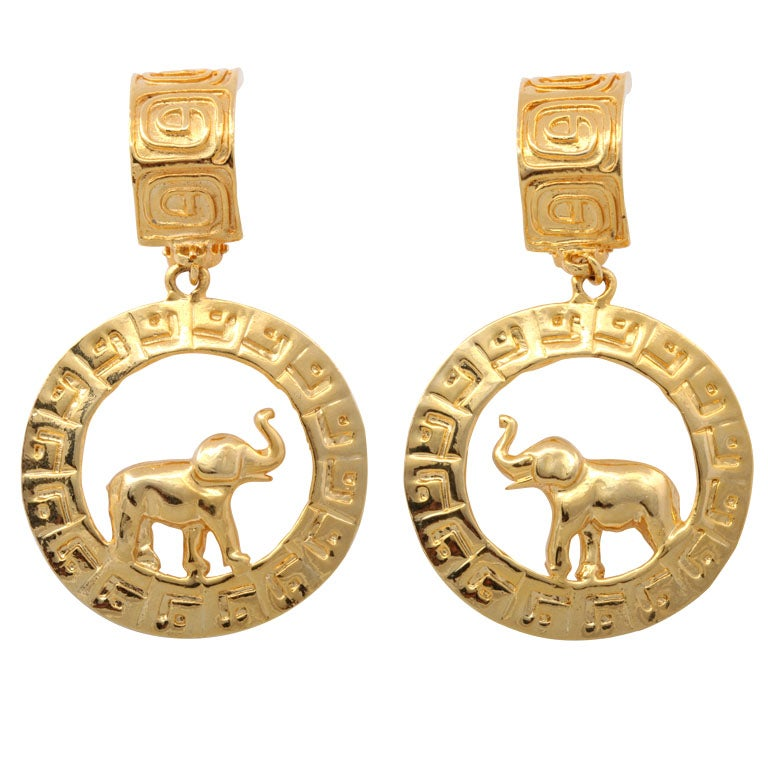 Large Goldtone Hoop/Elephant Earrings For Sale