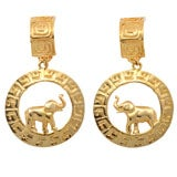 Large Goldtone Hoop/Elephant Earrings