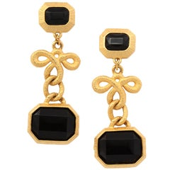 Black Stone and Gilt Dangle Earrings