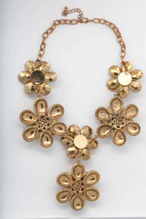 Women's Goldtone Flower Power Necklace For Sale