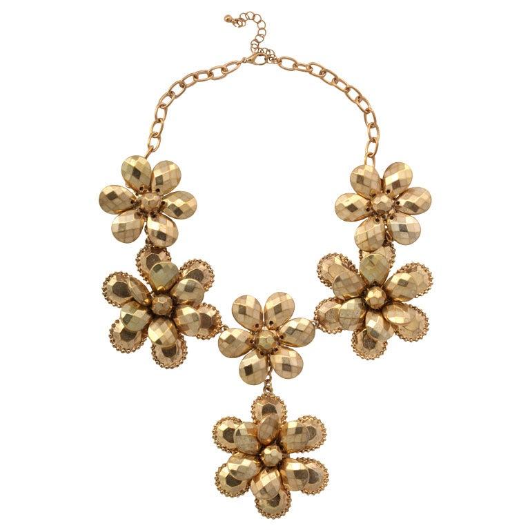 Goldtone Flower Power Necklace 1