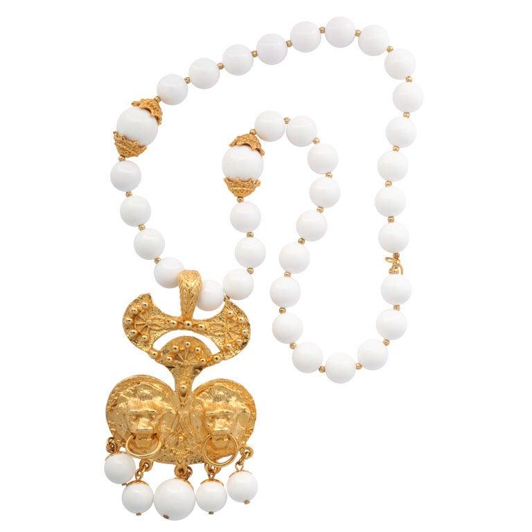 White Bead Double Lion Pendant Necklace
