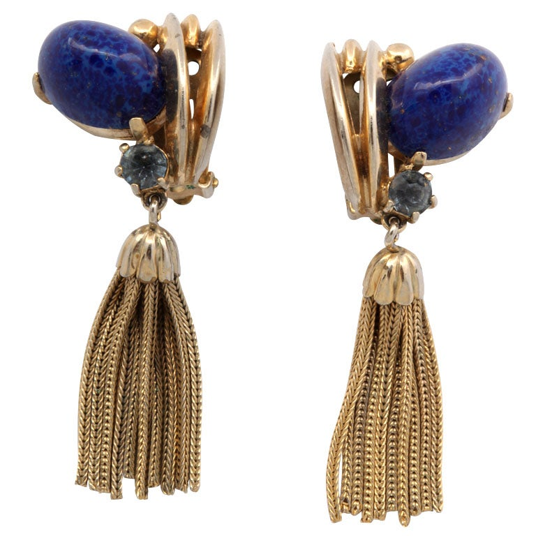 "Schiaparelli Lapis and ""Gold"" Tassel Earrings For Sale"