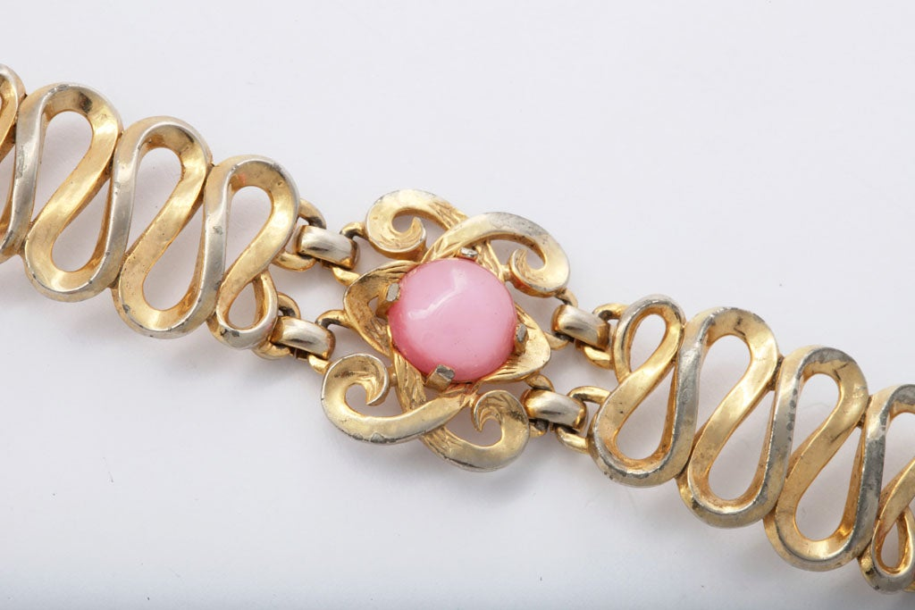 Women's Schiaparelli Goldtone and Pink Stone Bracelet and Earrings For Sale