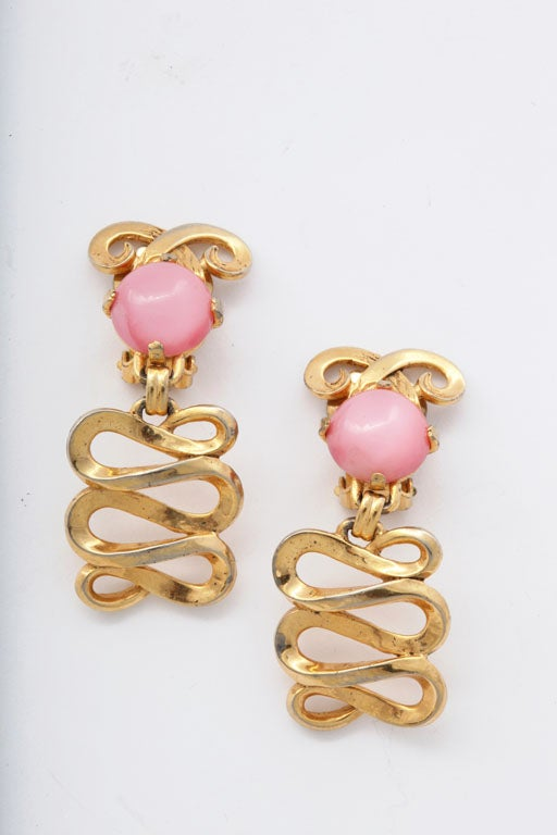 Schiaparelli Goldtone and Pink Stone Bracelet and Earrings For Sale 1