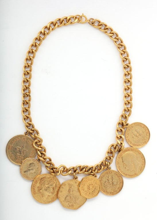 """Eight """"Gold"""" Coin Necklace 2"""