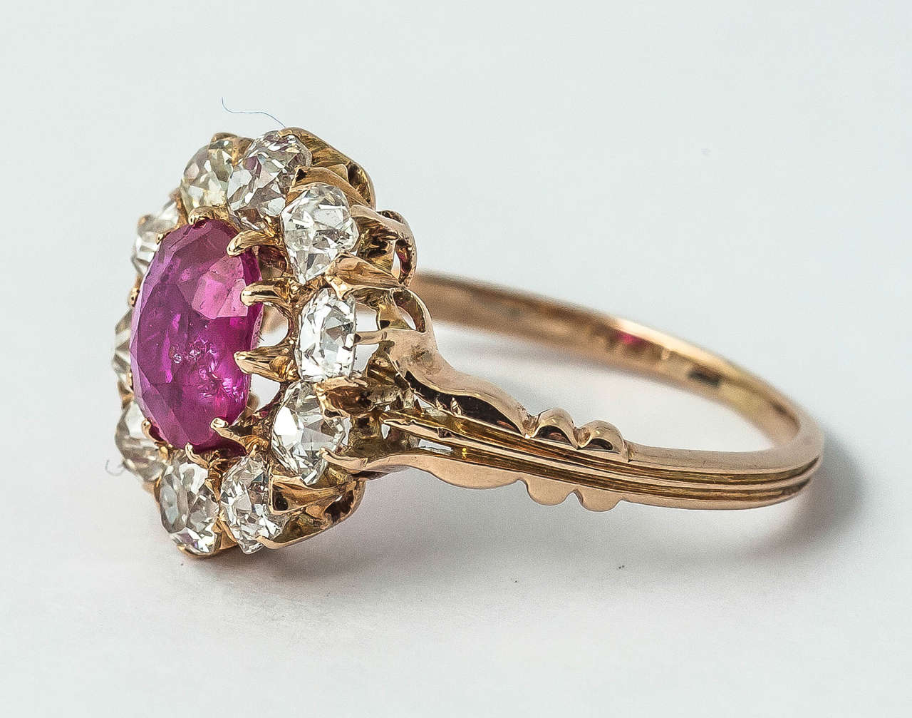 Victorian Ruby Diamond Cluster Ring In Excellent Condition For Sale In London, GB