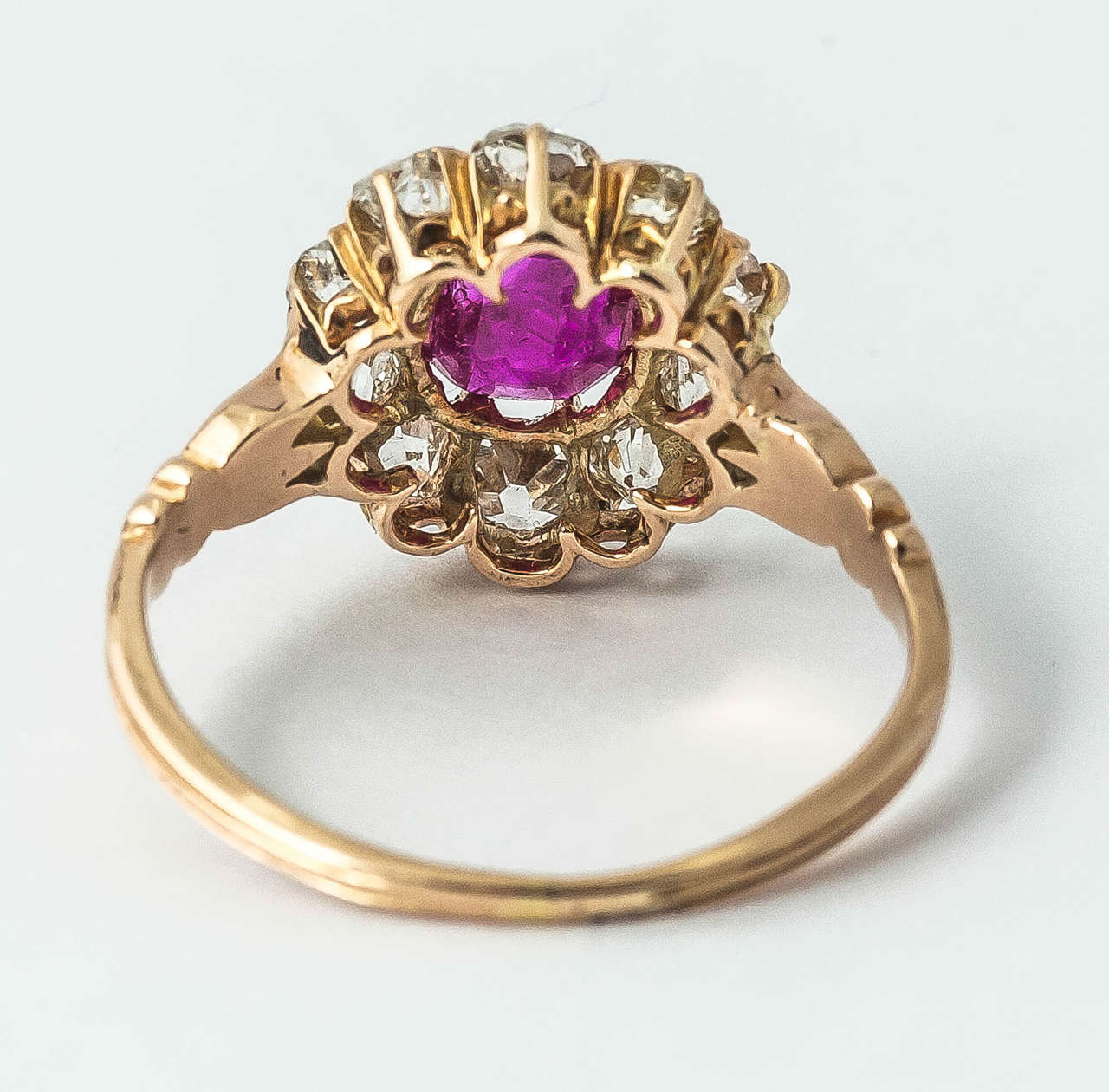 Women's Victorian Ruby Diamond Cluster Ring For Sale