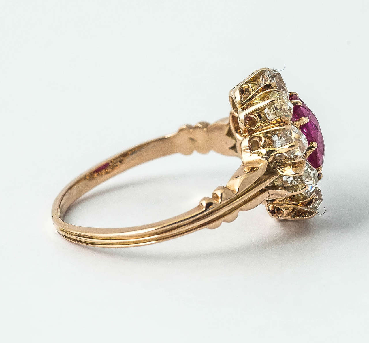 Victorian Ruby Diamond Cluster Ring For Sale 1