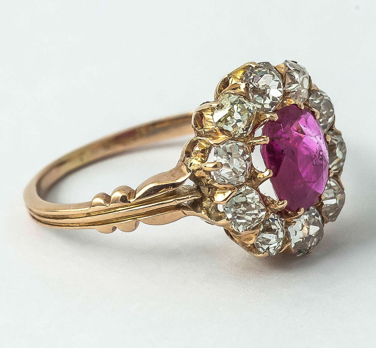 Victorian Ruby Diamond Cluster Ring For Sale 2