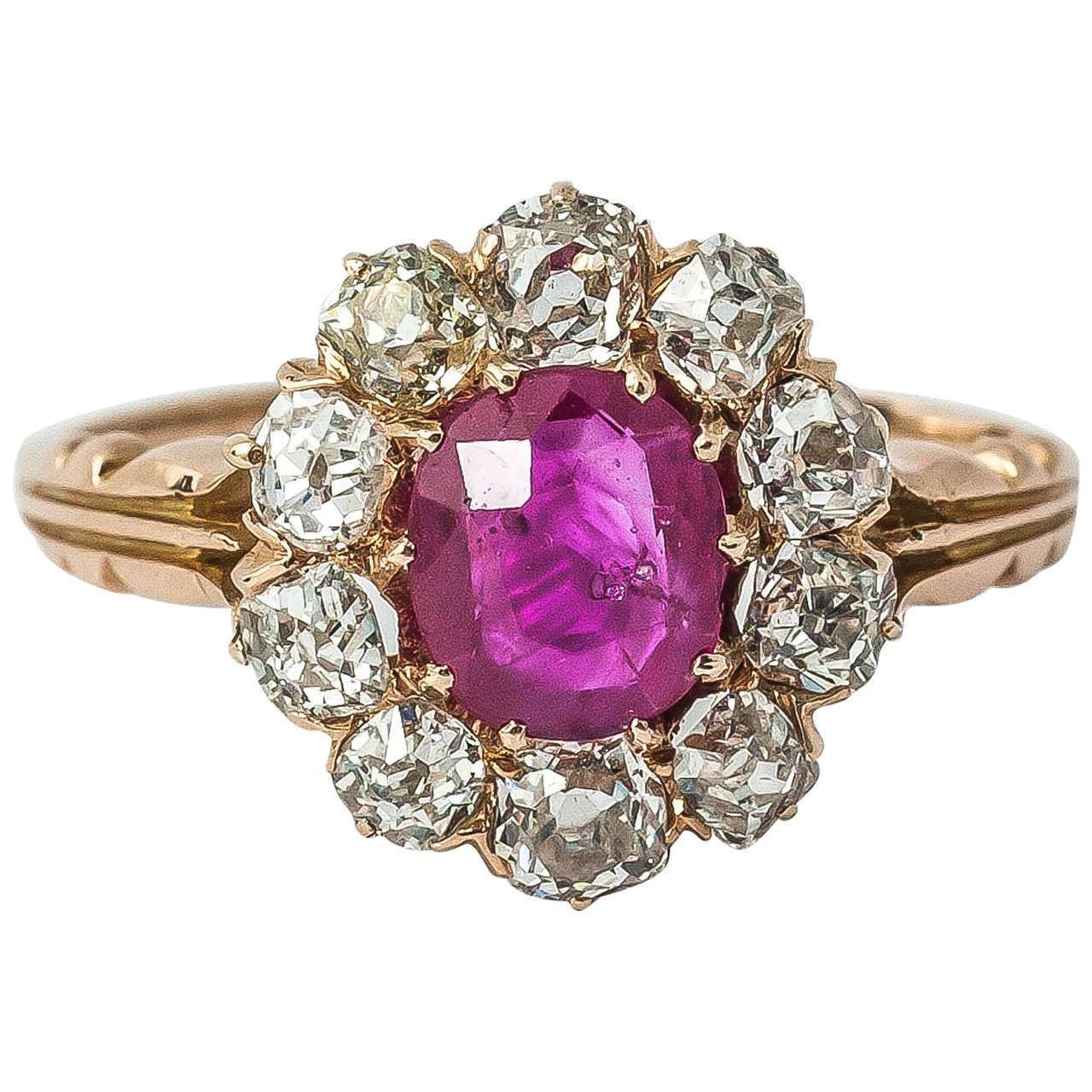 Victorian Ruby Diamond Cluster Ring For Sale