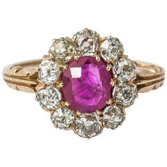 Victorian Ruby Diamond Cluster Ring