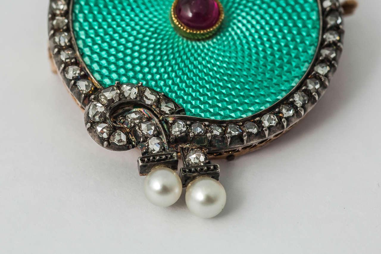 Faberge August Hollming Enamel Ruby Rose Cut Diamond Brooch 2