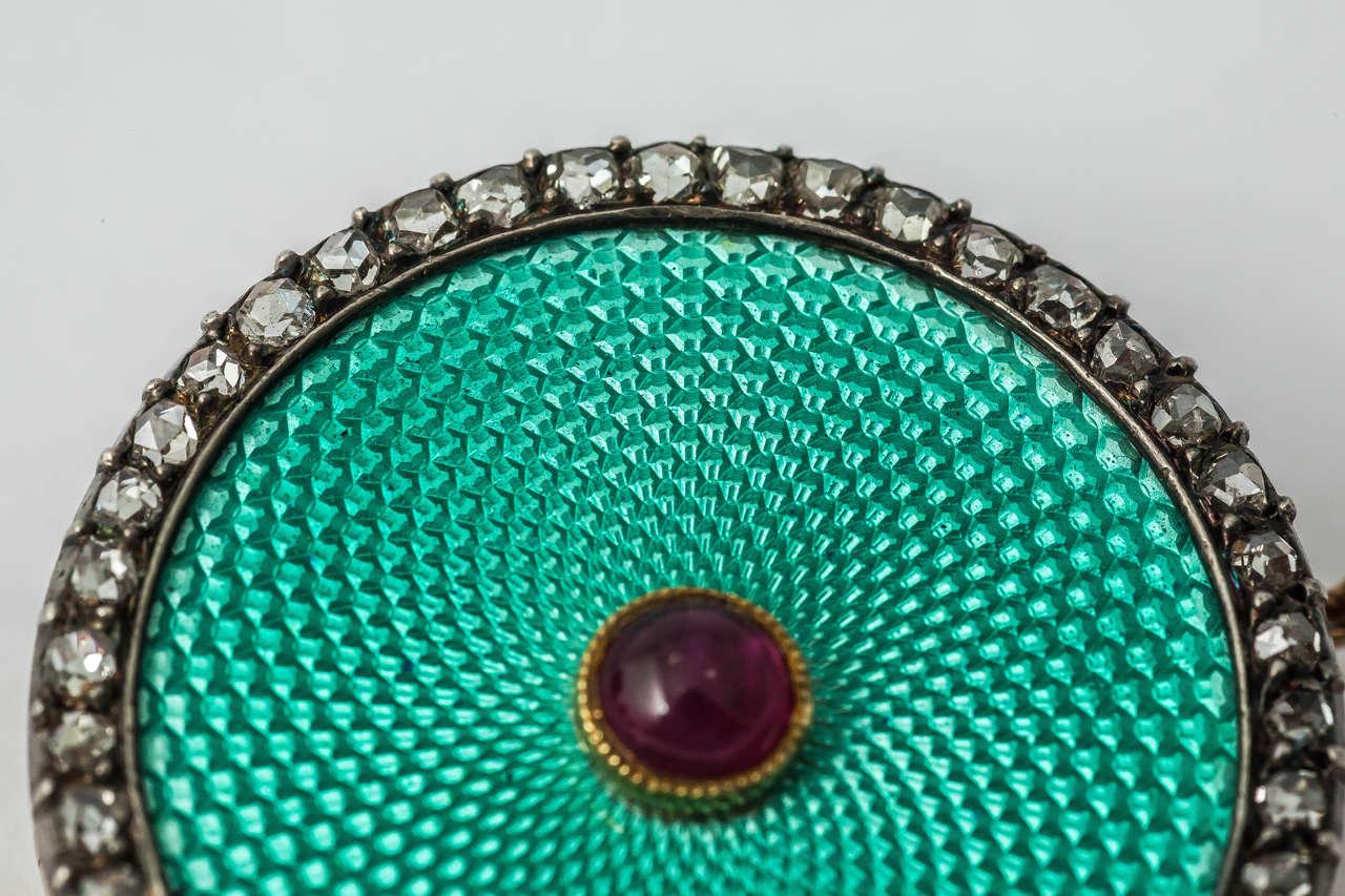 Artist Faberge August Hollming Enamel Ruby Rose Cut Diamond Brooch For Sale
