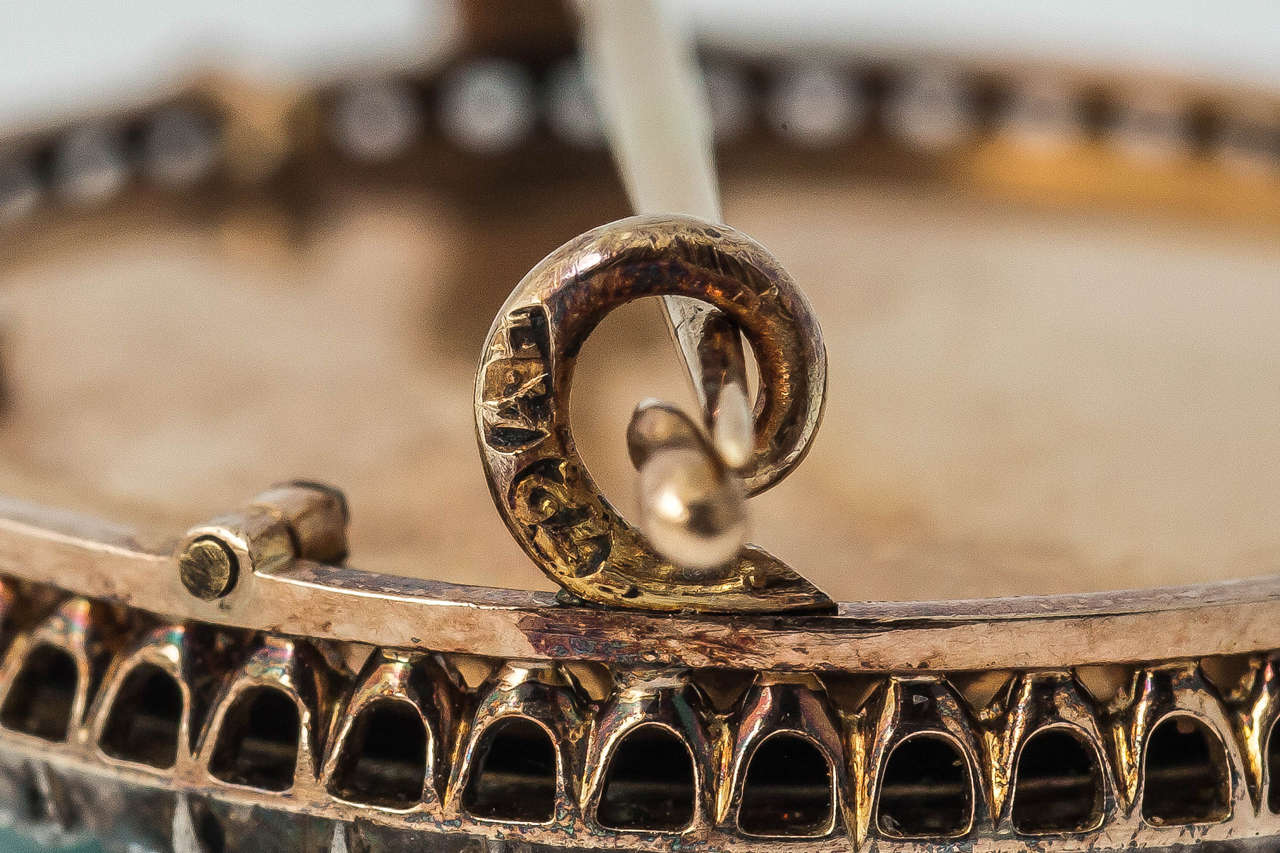 Women's Faberge August Hollming Enamel Ruby Rose Cut Diamond Brooch For Sale