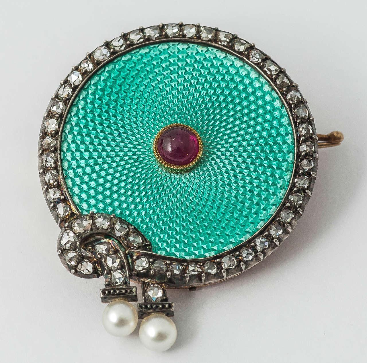 Faberge August Hollming Enamel Ruby Rose Cut Diamond Brooch 6