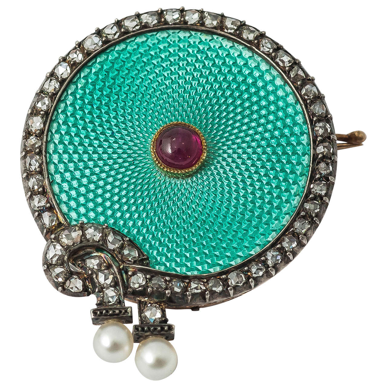 Faberge August Hollming Enamel Ruby Rose Cut Diamond Brooch For Sale