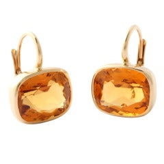 gold bezel set citrine earrings on French wires