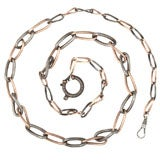 Victorian Niello Watch Chain or Necklace