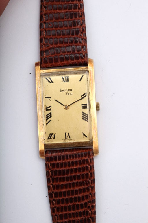 Refined Black Starr and Frost Gold Watch, 1970's 2