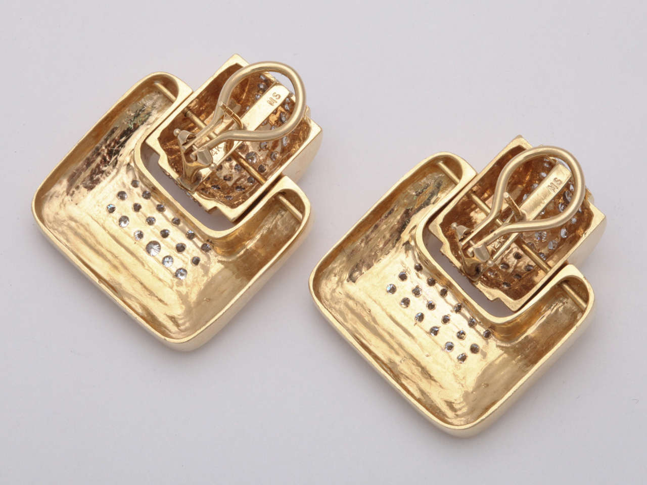 MS  Diamond & Yellow Gold Door Knocker Earrings In Excellent Condition For Sale In New York, NY