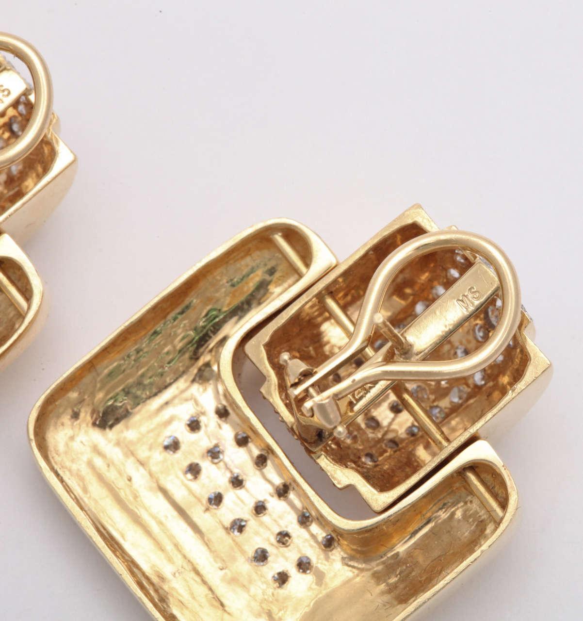 Women's MS  Diamond & Yellow Gold Door Knocker Earrings For Sale