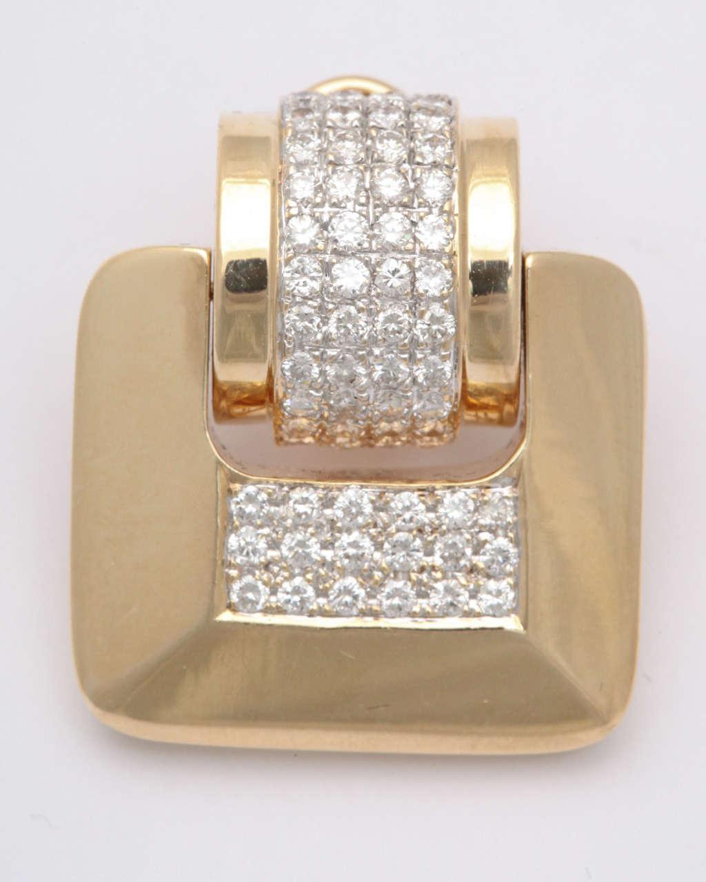 MS  Diamond & Yellow Gold Door Knocker Earrings For Sale 1