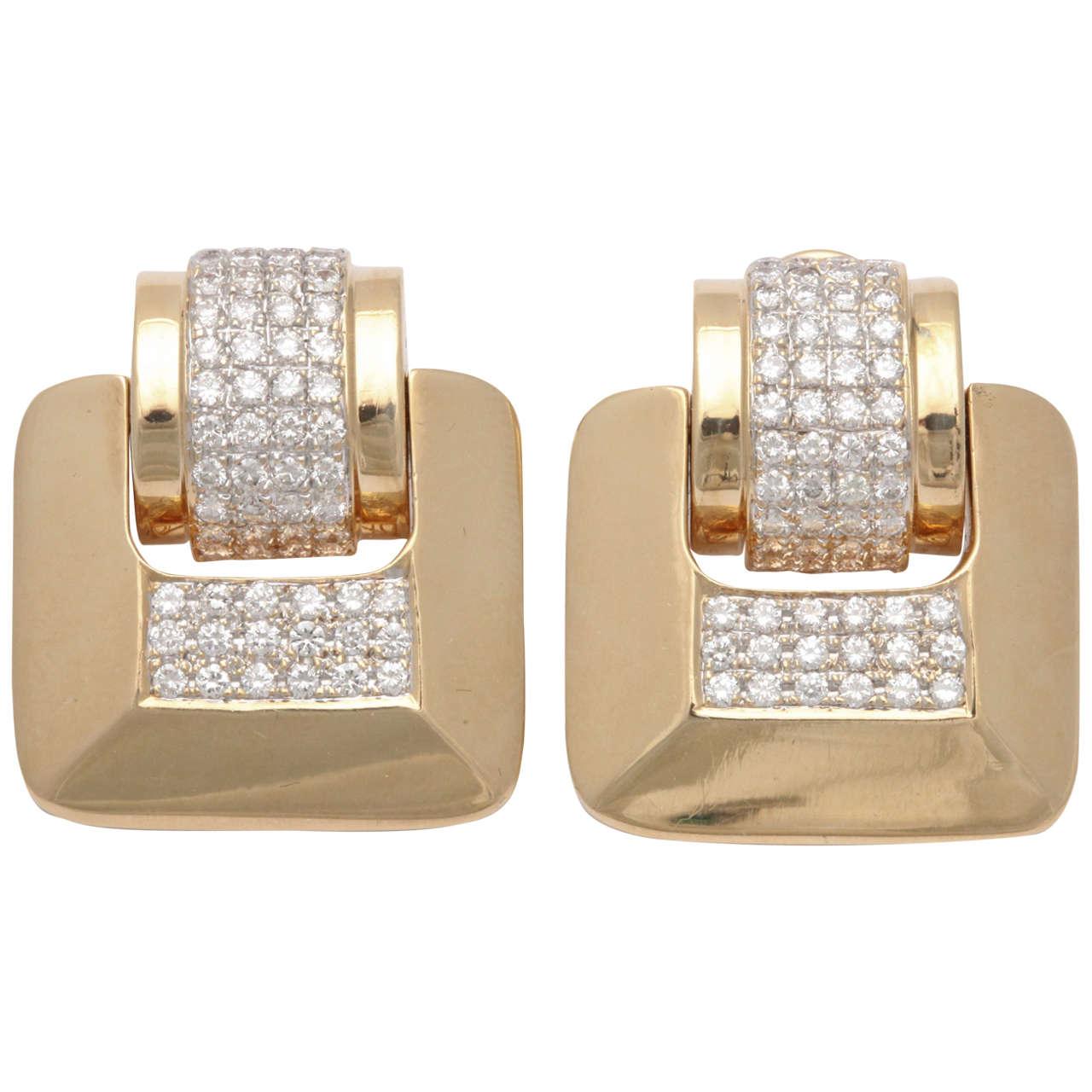 MS  Diamond & Yellow Gold Door Knocker Earrings