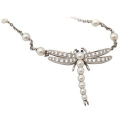TIFFANY AND CO. Pearl Diamond Sapphire Dragonfly Pendant Necklace