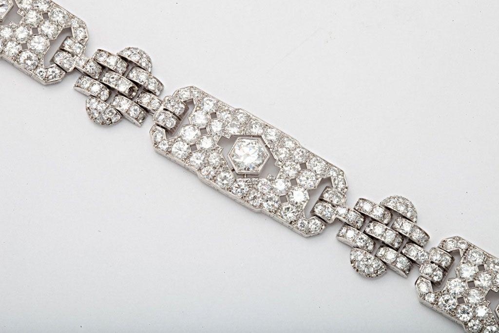 Women's GHISO Important Art Deco  Diamond Bracelet For Sale
