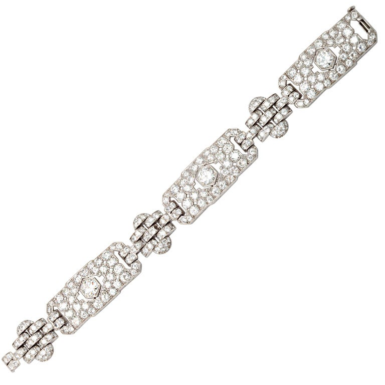 GHISO Important Art Deco  Diamond Bracelet For Sale