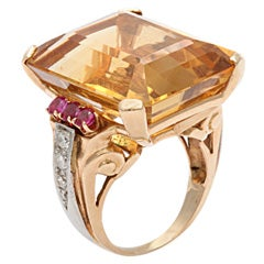 Retro Citrine Ruby & Diamond Ring