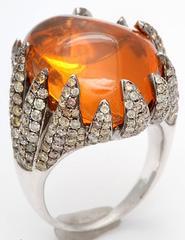 Flame Tipped Diamond & Fire Opal Ring 2
